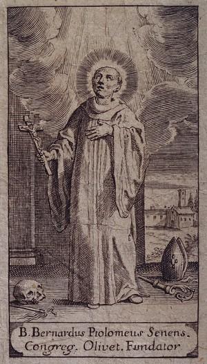 view Saint Bernardus Ptolomeus. Line engraving.