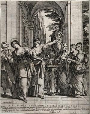 view Saint Bibiana. Etching by G.B. Mercati after P. da Cortona.
