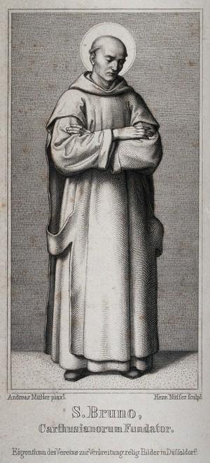 view Saint Bruno. Steel engraving by H. Nüsser after A. Müller.