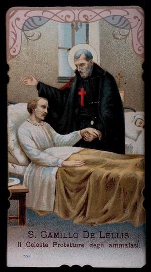 view Saint Camillus de Lellis. Colour lithograph.