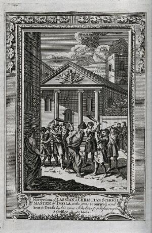 view Martyrdom of Saint Cassian of Imola. Engraving.