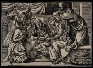 view Saint Catherine. Woodcut.