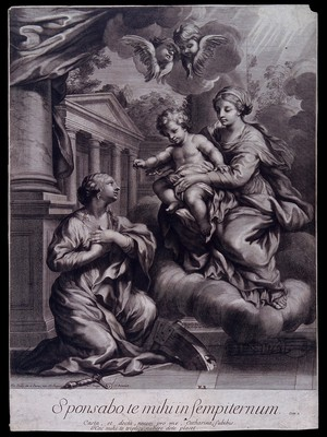 view Saint Catherine. Engraving by F. de Poilly after Pietro Berrettini da Cortona.