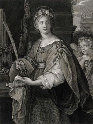 view Saint Cecilia. Line engraving by W. Sharp after Pietro da Cortona.