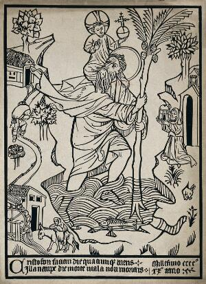 view Saint Christopher. Woodcut.