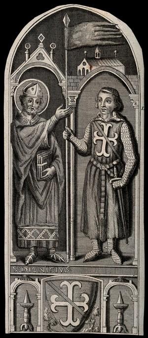 view Saint Denis presenting a standard to a crusader (Godefroi de Bouillon?). Engraving.