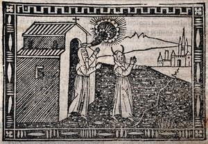 view Saint Eufrasia. Woodcut, 1558.