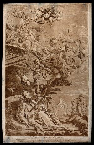 view Death of Saint Francis Xavier, holding a crucifix and looking at the sky; angels and cupids emerging from the clouds. Etching by the Comte de Caylus and woodcut by N. Le Sueur after L. Gimignani.