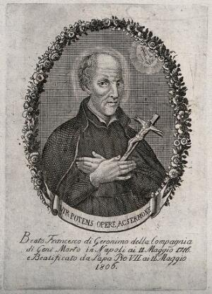 view The Blessed (subsequently Saint) Francisco Geronimo y Gravina holding a crucifix; head and shoulders. Etching, ca. 1806.