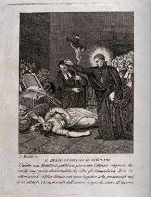 view The Blessed (subsequently Saint) Francisco Geronimo y Gravina addressing Caterina the prostitute; a crowd is watching. Etching by J. Bedetti, 1790/1830.