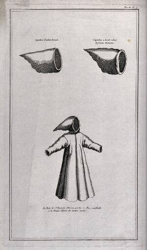 view The monastic habit of Saint Francis of Assisi compared two hoods worn by Roman women and children. Etching, 17--.