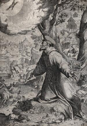 view Saint Francis of Assisi receiving the stigmata of Christ from the seraph. Engraving by Justus Sadeler after C. Procaccini, 1570/1600.