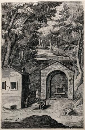view Fountain of Saint Francis of Assisi. at La Verna. Engraving attributed to D. Falcini after J. Ligozzi, ca. 1612.