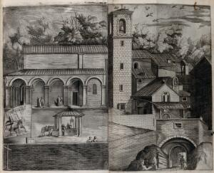 view Buildings of the church and monastery of Mount Verna. Engraving attributed to D. Falcini after J. Ligozzi, ca. 1612.