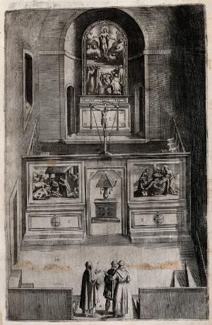view The interior of the smaller church on Mount Verna; decorated with paintings of the life of Christ: birth, descent from the cross and the ascension. Engraving attributed to D. Falcini after J. Ligozzi, ca. 1612.