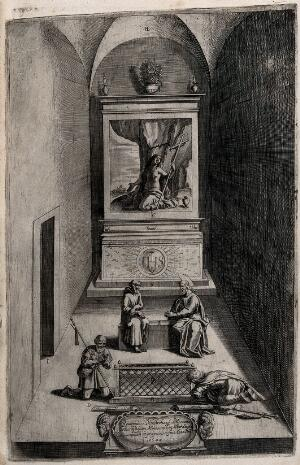 view The interior of the chapel of Saint Mary Magdalen, on Mount Verna, where Saint Francis of Assisi retreated. Engraving attributed to D. Falcini after J. Ligozzi, ca. 1612.