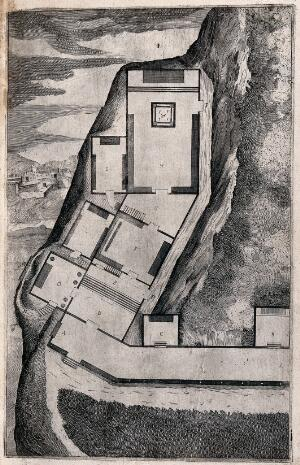 view Ground plan of the church on Mount Verna. Engraving attributed to D. Falcini after J. Ligozzi, ca. 1612.