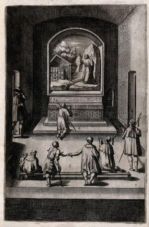view Interior of the Capella della Croce on Mount Verna; with a painting of Saint Francis on the altar. Engraving attributed to D. Falcini after J. Ligozzi, ca. 1612.