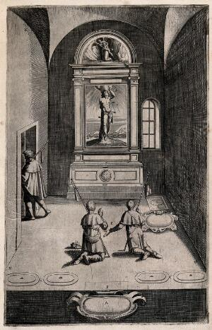 view Interior of the chapel of Saint Sebastian on Mount Verna; with a painting of Sebastian pierced by arrows. Engraving attributed to D. Falcini after J. Ligozzi, ca. 1612.