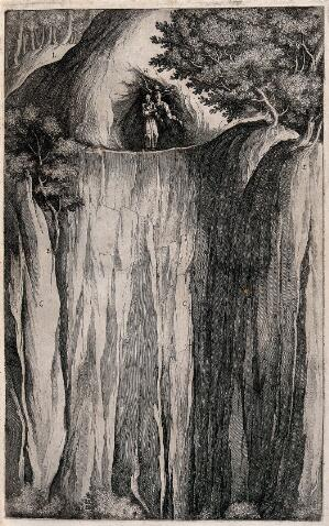 view Saint Francis of Assisi tempted by the Devil on mount La Verna. Etching by R. Sciaminossi after J. Ligozzi, ca. 1612.