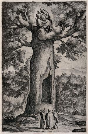 view The Virgin and Child appearing at the top of a beech tree to three monks who live on mount La Verna. Etching by R. Sciaminossi after J. Ligozzi, ca. 1612.