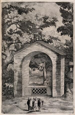 view A Franciscan monk showing a little chapel on mount La Verna to two pilgrims. Engraving attributed to D. Falcini after J. Ligozzi, ca. 1612.