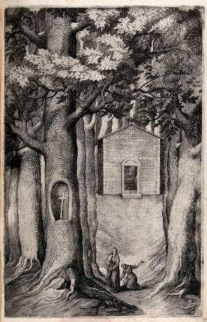 view The chapel of the beech tree on mount La Verna; Christ appearing to a monk named Giovanni. Engraving attributed to D. Falcini after J. Ligozzi, ca. 1612.