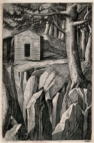 view The chapel on mount La Verna on the site of the cell inhabited by a monk named Giovanni. Engraving attributed to D. Falcini after J. Ligozzi, ca. 1612.