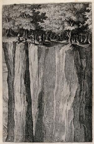 view Friar Lupo and his companions on a precipice on mount La Verna. Etching by R. Sciaminossi after J. Ligozzi, ca. 1612.