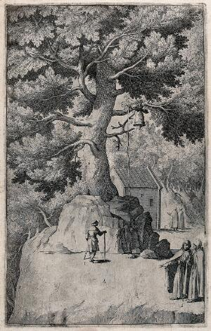 view Monks on mount La Verna; bell hung on a tree. Etching by R. Sciaminossi after J. Ligozzi, ca. 1612.