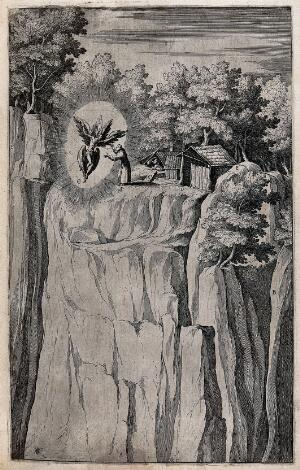 view Saint Francis of Assisi having a vision of a winged seraph on mount La Verna. Etching by R. Sciaminossi after J. Ligozzi, ca. 1612.