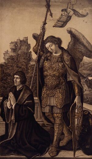 view Saint George. Lithograph by N.J. Strixner after J. Gossaert (Mabuse), 1821.