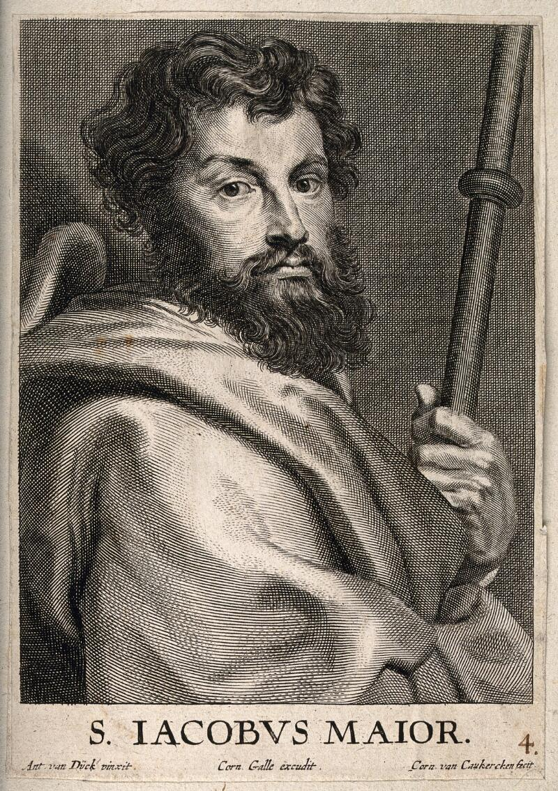 Corn Van Dijck.Saint James The Great Line Engraving By C Van Caukercken After Sir