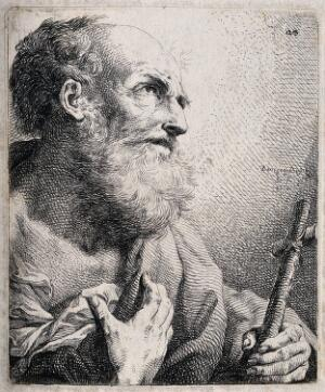 view Saint Jerome. Etching by B. Bossi, 1754 (?).