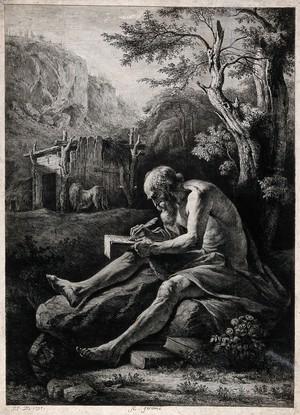 view Saint Jerome. Etching by J.J. de Boissieu, 1797.