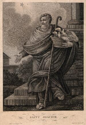 view Saint Joachim. Stipple engraving by C.J. Pomel after Blaizot.