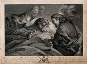 view Saint Joseph: his death, attended by the Virgin Mary and Jesus Christ. Line engraving by A. Bannerman, 1766, after a painting attributed to D. Velasquez.