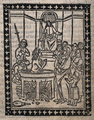 view Martyrdom of Saint Juliana. Woodcut (?).