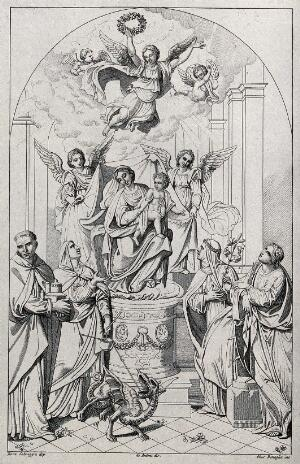 view Saint Mary (the Blessed Virgin) with the Christ Child and angels, accompanied by Saint Margaret, Saint Adelaide (?), Saint Catherine, and other saints. Etching by G. Benaglia, 1812, after A. De' Antoni after E. Salmeggia.