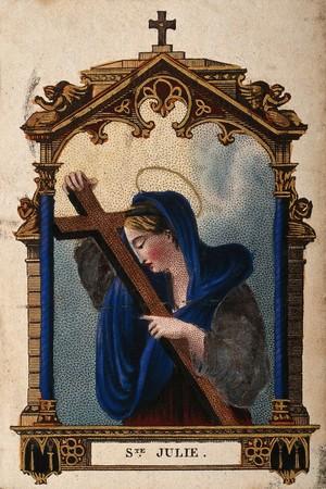 view Saint Julia. Coloured stipple engraving.