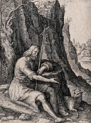view Saint John the Baptist in wilderness; seated, holding a cross. Engraving by R. de Mey after Lucas van Leyden.
