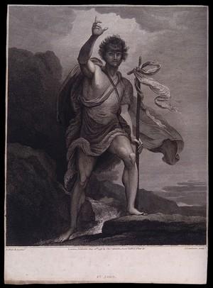 view Saint John the Baptist. Etching by J. Landseer, 1796, after B. West.