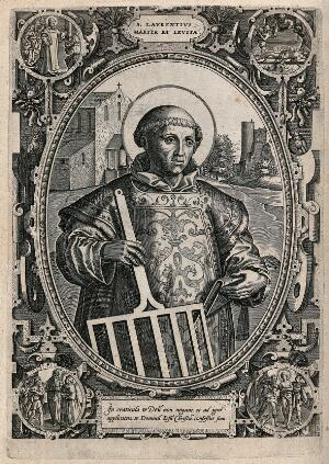 view Saint Laurence of Rome. Engraving.
