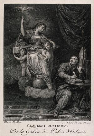 view Saint Laurence Justiniani. Engraving by C.W. Ketterlinus and A.L. Romanet after F. Albani.