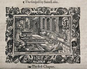 view Saint Luke. Woodcut.