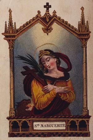 view Saint Margaret. Colour lithograph.