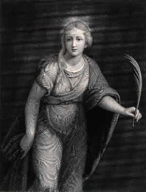 view Saint Margaret. Line engraving by Metzmacher after Raphael.