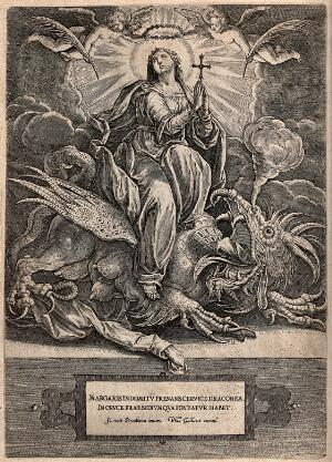 view Saint Margaret: with the aid of the Holy Cross she crushes a dragon and receives the rewards of martyrdom. Engraving by H. Wierix after J. Stradanus.