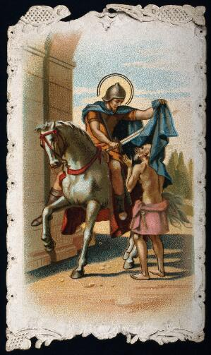 view Saint Martin of Tours. Colour lithograph.