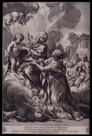 view Saint Martina. Engraving after Pietro Berrettini da Cortona.